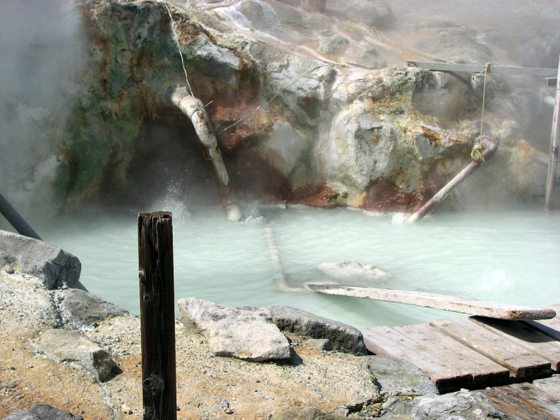 Owakudani hot springs water