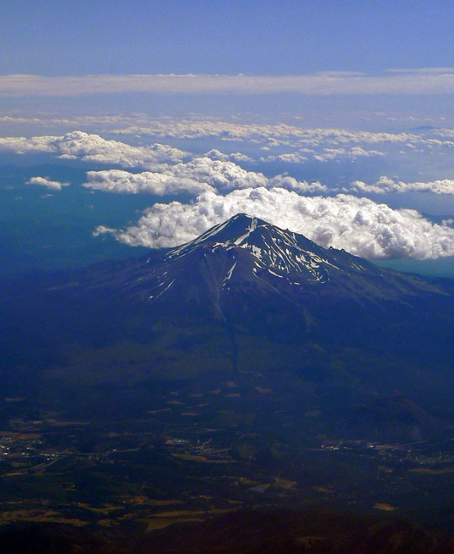 mt. shasta from the air