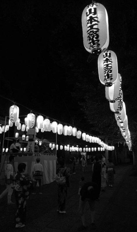black and white bon odori picture japanese lanterns