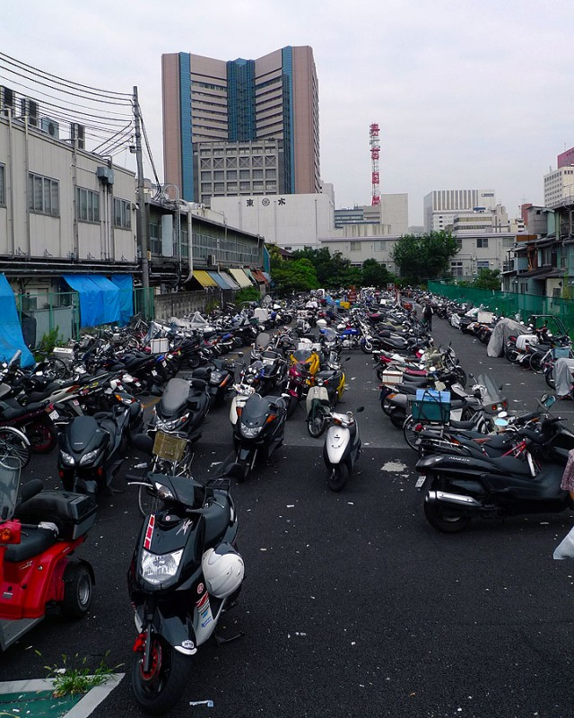 motorcycles at tsukiji tokyo japan