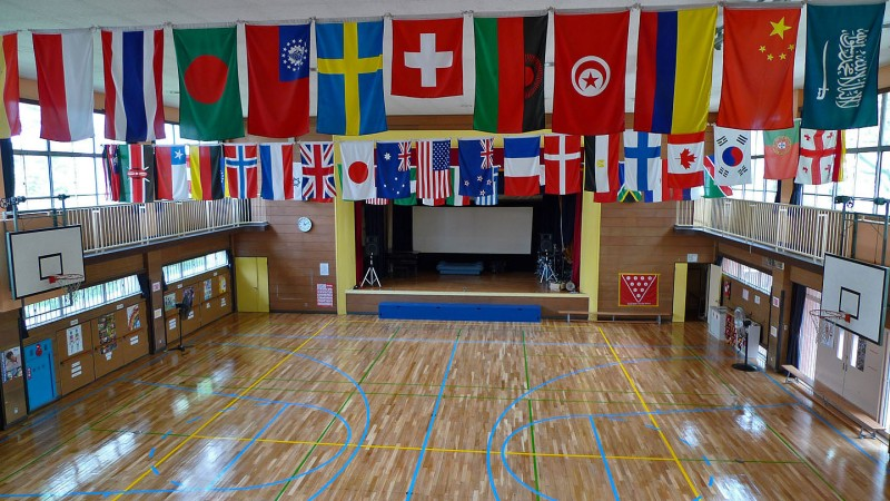 flags in the gym