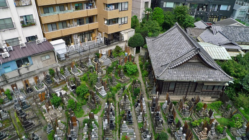 aerial view buddhist cemetary tokyo japan