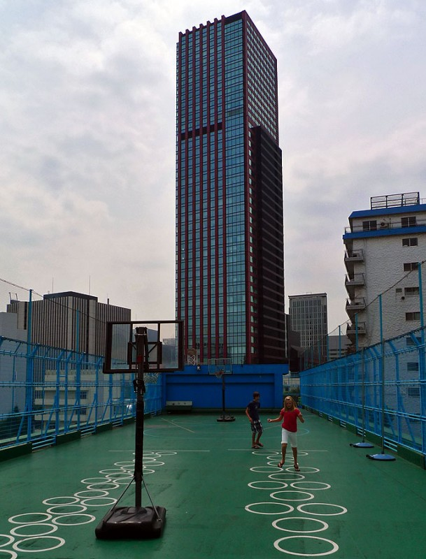 basketball and hopscotch among the skyscrapers