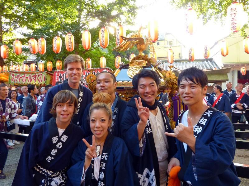 japanese friends at matsuri tenso jinja tokyo japan