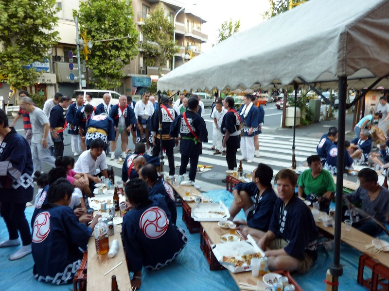 food and drink party after the mikoshi matsuri nishiwaseda