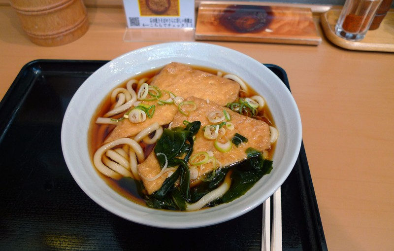 most udon shops one of the kinds of udon you can order is kitsune udon ...