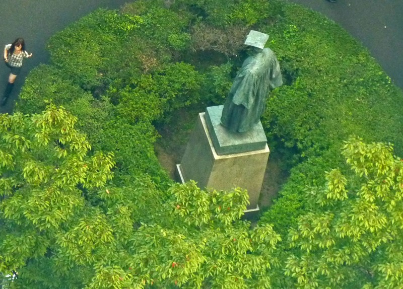 Shigenobu Okuma statue waseda university aerial view