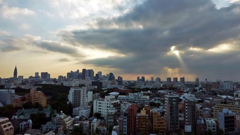 view from waseda university of shinjuku tokyo japan