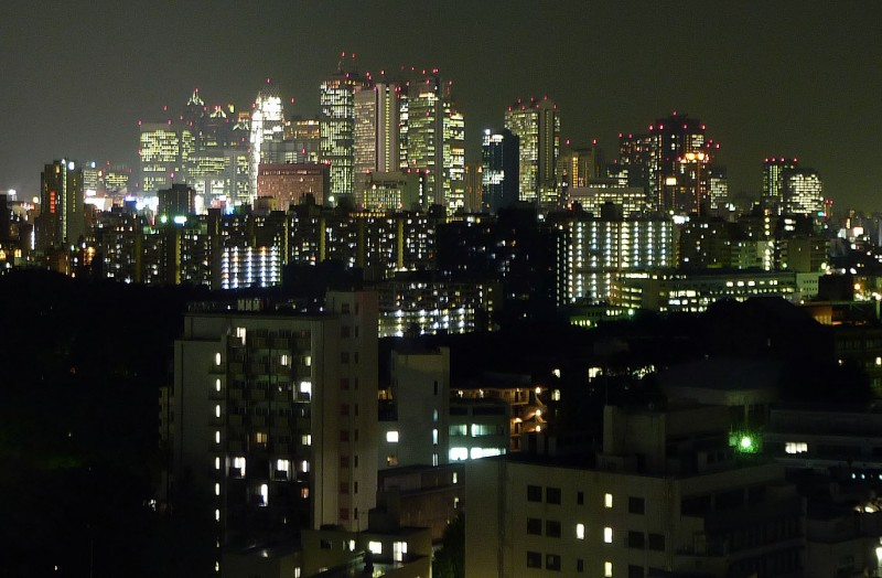 night view of shinjuku from waseda university
