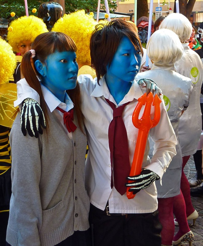 blue people japan cosplay halloween