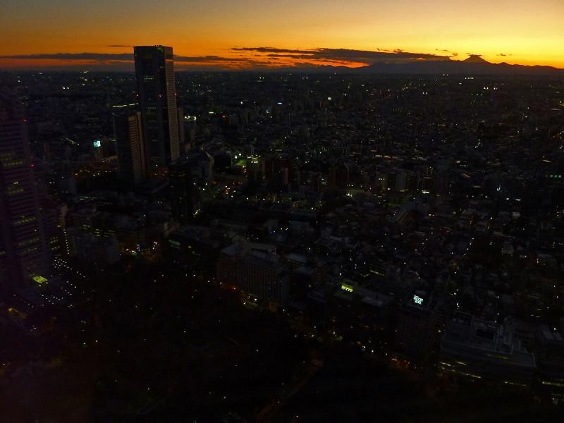 mt. fuji sunset from shinjuku tokyo japan