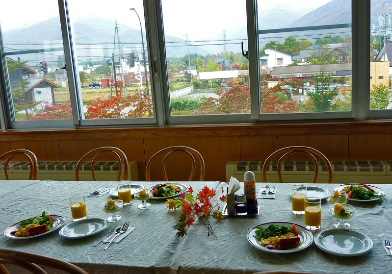 breakfast at Mountainside Jodel Ryokan Minshuku hakuba japan