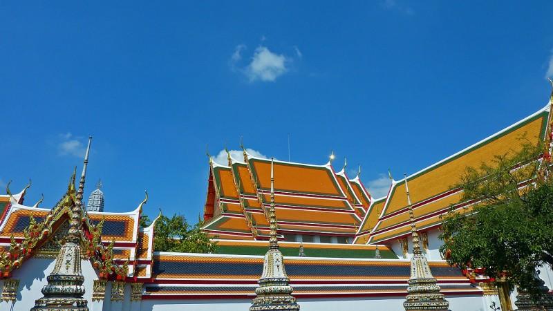 wat po buildings bangkok thailand buddhist