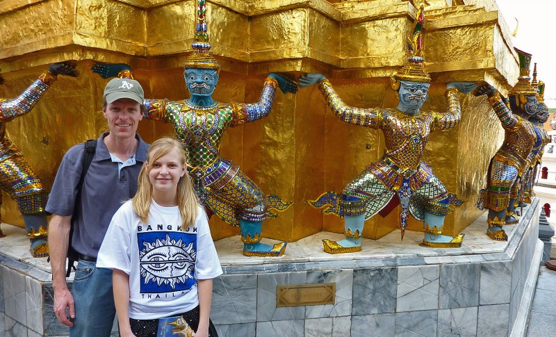 Alan and Ellie Case outside the Royal Pantheon bangkok thailand