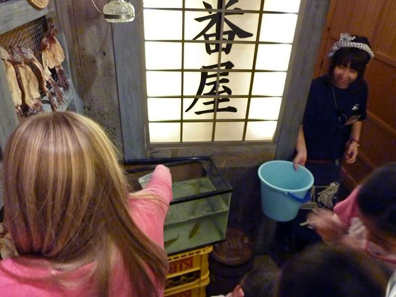 sushi restaurant sashimi tokyo catch and eat live fish