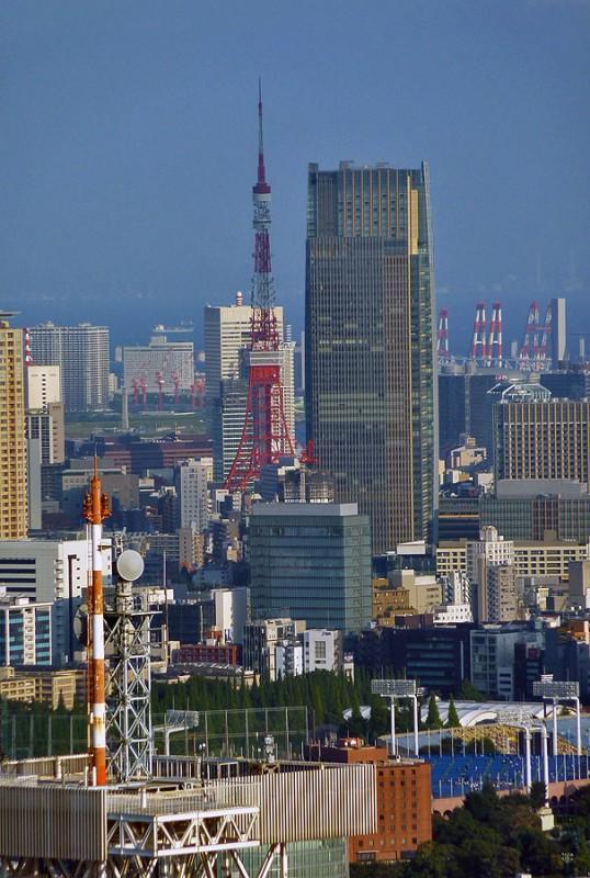 tokyo tower from shinjuku with meiji jingu kyujo stadium with midtown tower