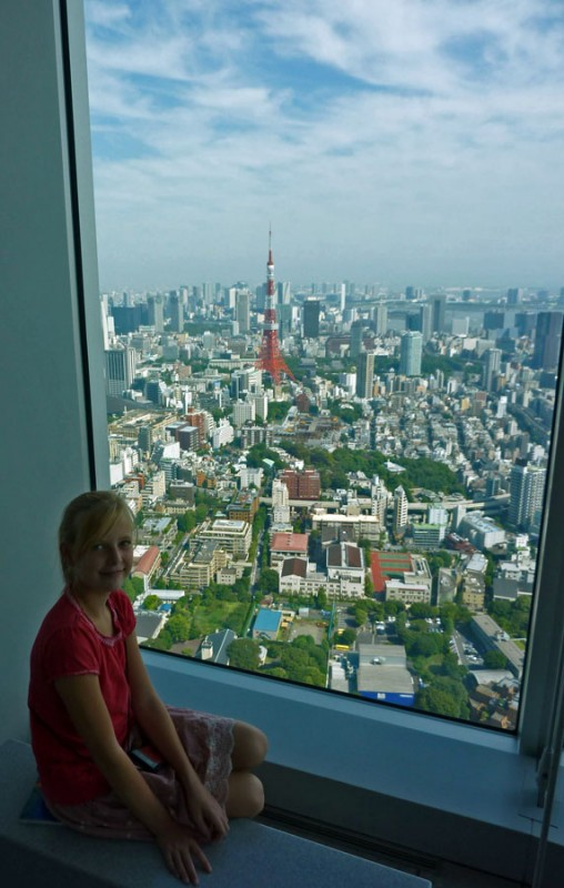 tokyo tower from mori tower observation sky room japan