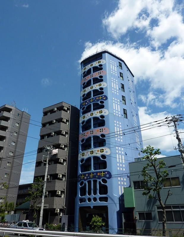 blue building near takadanobaba shinmejiro dori