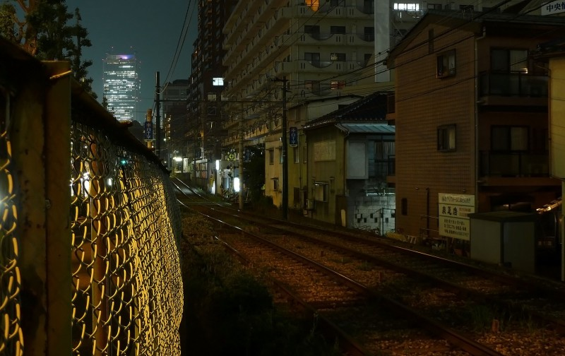 sunshine 60 from waseda night photos TZ10 photography toden street car tokyo japan