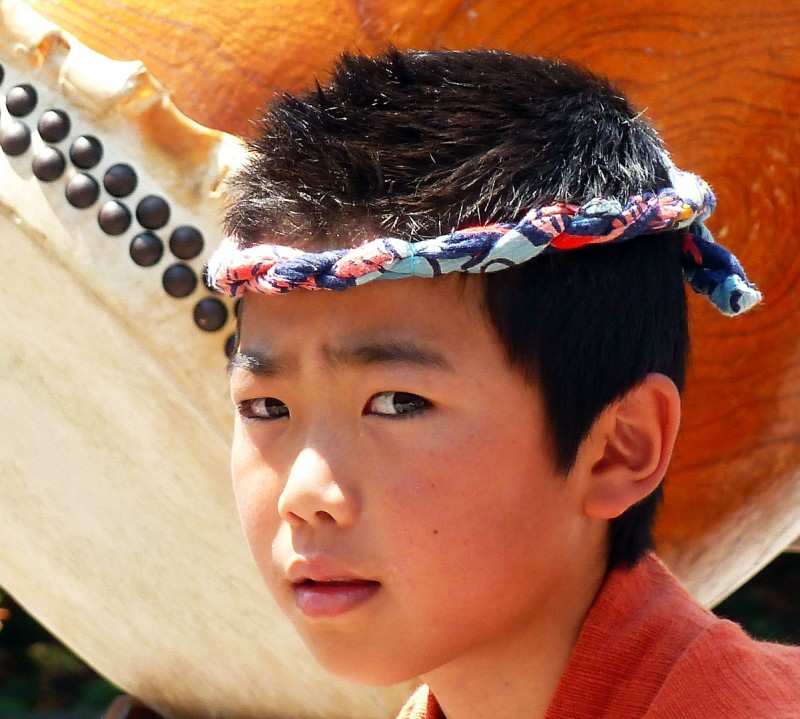 japanese boy taiko drummer face