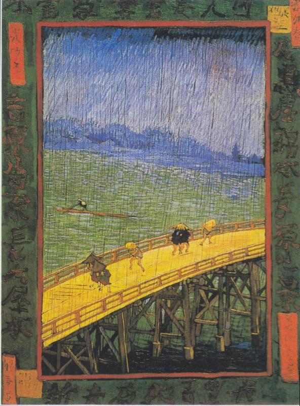 van gogh bridge rain hiroshige