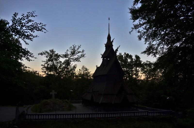 stave church at dusk
