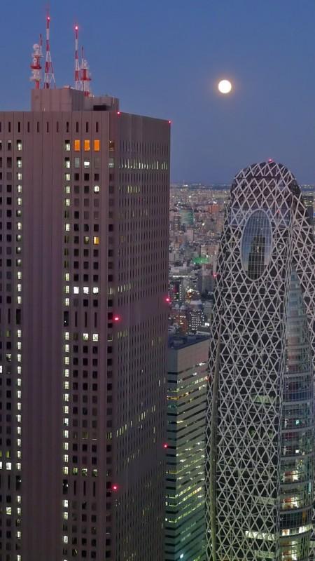 full moon tokyo japan skyscrapers