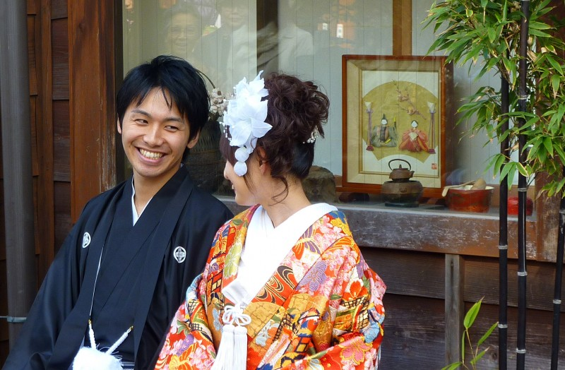 japanese married young couple in traditional dress