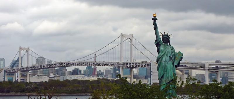 tokyo tower odaiba statue of liberty rainbow bridge