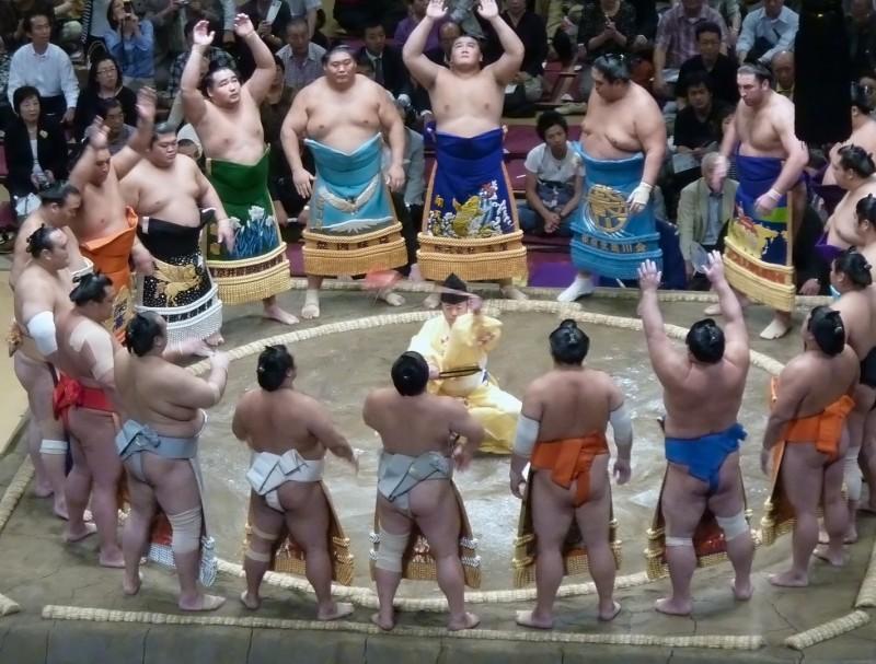 tokyo japan sumo wrestlers enter ring aprons