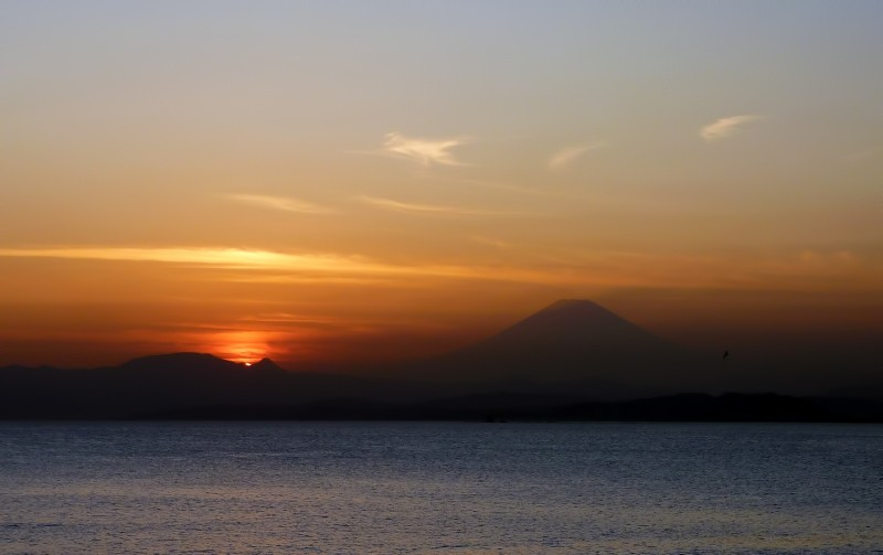 enoshima sunset featuring mt fuji mount sagami wan bay