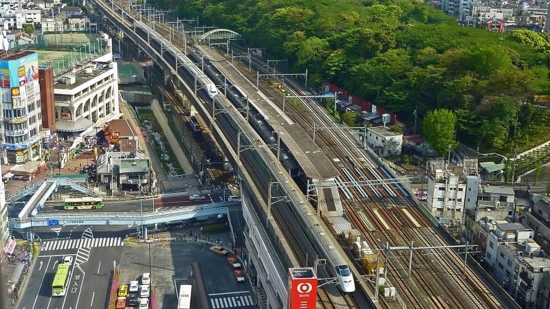 shinkansen train aerial view