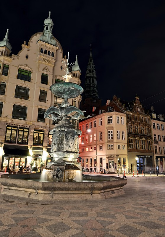 Strøget night fountains copenhagen denmark