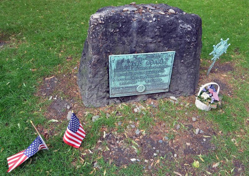 samuel adams beer grave stone 4th of july