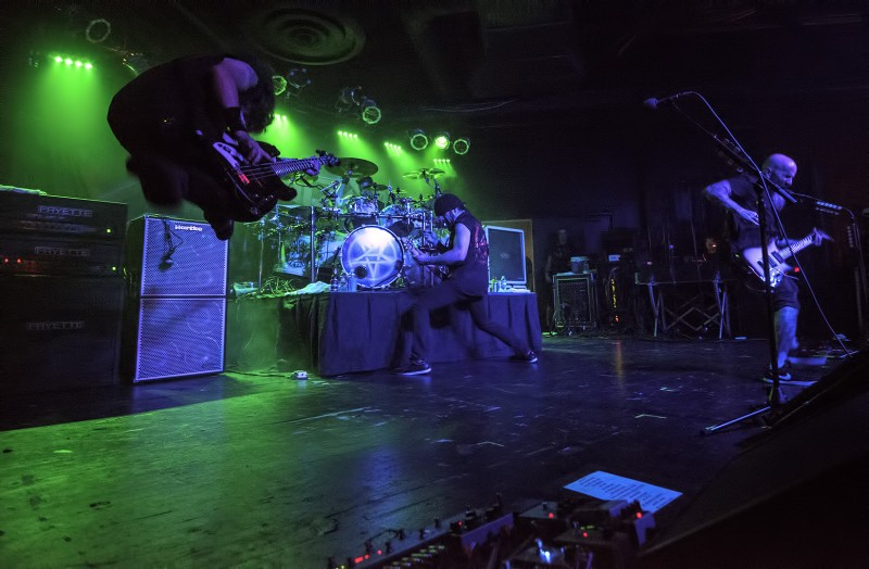 anthrax bassist frank bello leaps in the air during live show at ace of spades in sacramento california september 14 2012