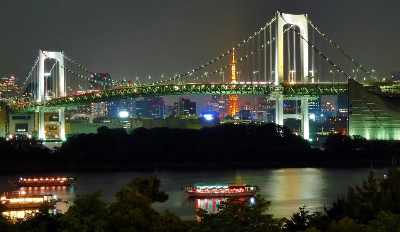 daiba night view tokyo japan