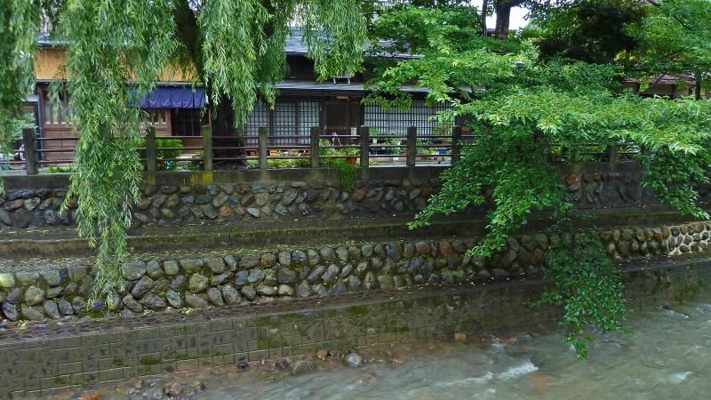 takayama rain river old japanese houses