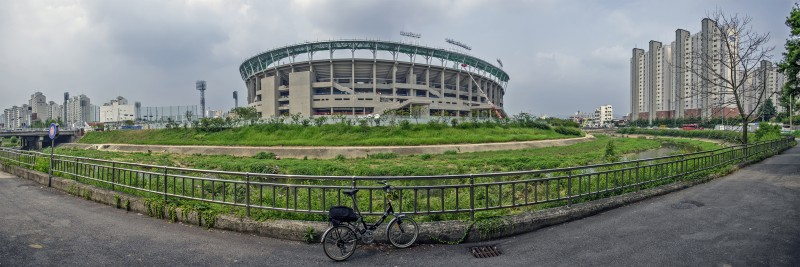panorama photomerge gwangju baseball stadiums new and old along river