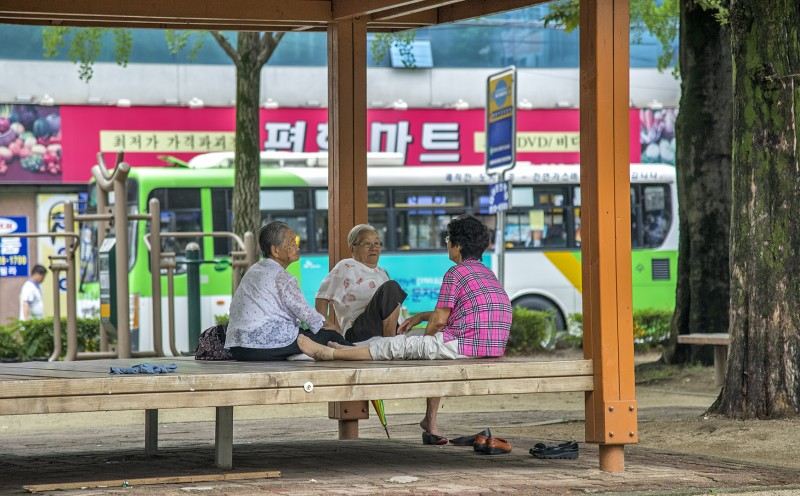 old korean ladies chatting in park