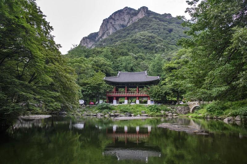 baekyangsa naejangsan national park pond pavilion