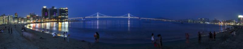 광안대교 panorama photomerge gwangan beach bridge night busan korea