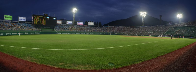 panorama photomerge lotte giants stadium busan korea