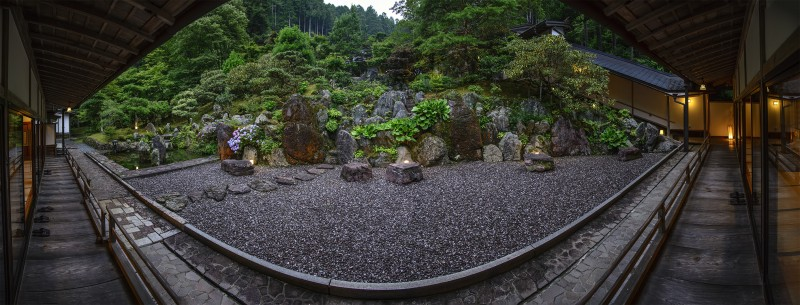photomerge panorama fudoin dinner garden koyasan