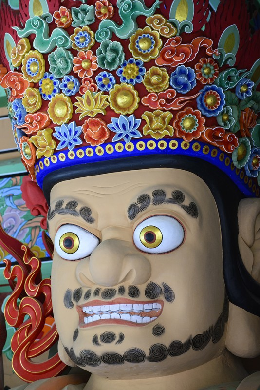 head on guardian in cheongwangmun gate beomeosa busan south korea