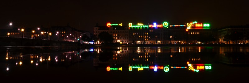 copenhagen lake night lights reflection
