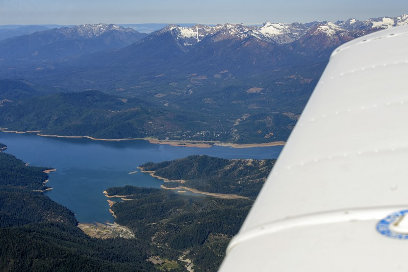 flying over lake shasta