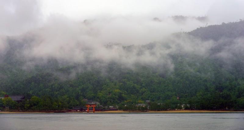miyajima ferry downpour rain
