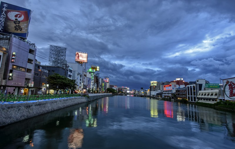 fukuoka blue hour before the storm