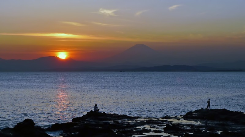 mt fuji sunset enoshima