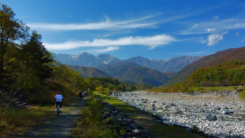 hakuba bike tour mountains river